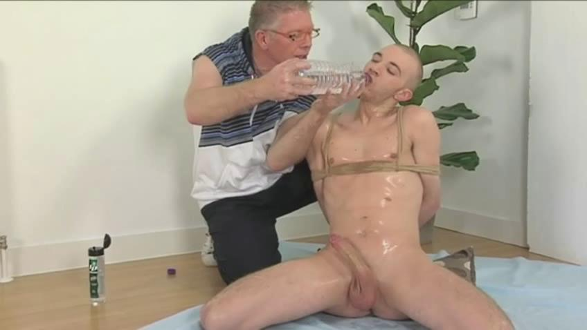 Perverted old man and tied bald twink