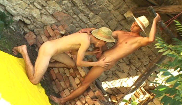 Nasty gay cowboys at a loss for words and suck each others hard rod alfresco