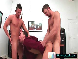 Incredible gay three some at the office by workingcock