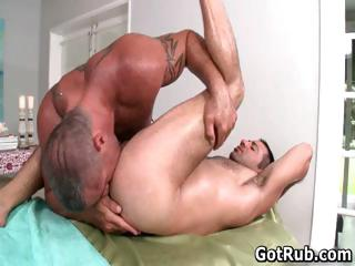 Hot guy get his amazing piecing together massaged