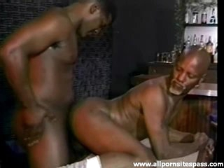 Black guy with a goatee boned in hammer away ass