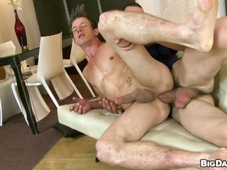 Frying gay dude rides big hard dick bareback