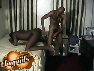 Black dude's asshole fucked by a big black cock