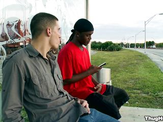 White mendicant talking with a black guy, then they're going somewhere more private. The white man is having his dick sucked by rub-down the black man, then he rams him from behind, while rub-down the black guy's sitting on his all fours.
