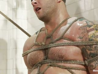 Chunky boy Colby is tied and punished under the shower, his muscled are solicitous as the executor starts his work and that sexy wet body only asks for a steadfast fuck and humiliation, look at him blindfolded and with his sweet dick tied and tortured. He is pleased and because he makes so much noise he receives a dildo between his pretty lips, that makes him silent for a while, maybe a steadfast dick will explanations this hot man shut up.