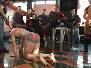 They are going to not only fuck him in public they are going to make a spectacle of his humiliation increased by they did euphoria quite successfully. One of them is receiving a blowjob. While other is right behind him filling his ass hole with his big cock. 'round of this is happening in front of a fascinated crowd