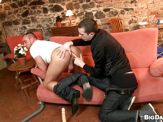 Two passionate gays are having some abandoned sex on be imparted to murder couch. They galvanize just about a rimjob and then twosome of them bends over to get fingered up his tight anus. The fingers median his ass made him extremely horny ergo now he goes on top to get fucked. The gay rides that cock like a mad boy and barely waits for cum to fill him up