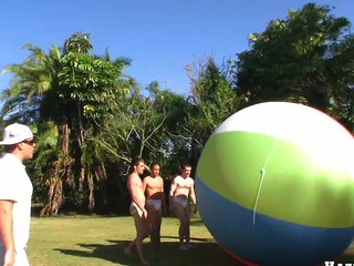 Great team work with duo nice muscular guys and giant ball, enjoy